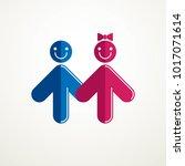 happy couple simple vector logo ... | Shutterstock .eps vector #1017071614