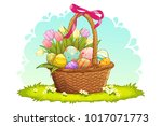 colorful easter eggs and tulips ... | Shutterstock .eps vector #1017071773