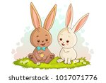 two lovely white and brown...   Shutterstock .eps vector #1017071776