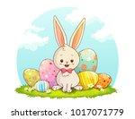 cute rabbit sitting on grass... | Shutterstock .eps vector #1017071779