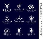 set of vector demonic infernal... | Shutterstock .eps vector #1017071974