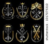 vintage weapon emblems set.... | Shutterstock .eps vector #1017075310