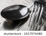 metal fork and spoon close up... | Shutterstock . vector #1017076480