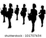 Vector Image Of Young Girls...