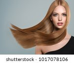 beautiful model girl with shiny ... | Shutterstock . vector #1017078106