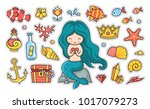 little mermaid with heart... | Shutterstock .eps vector #1017079273
