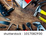 set of construction tools on... | Shutterstock . vector #1017082930