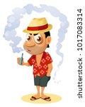 vaper. funny holiday maker... | Shutterstock .eps vector #1017083314