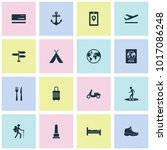 journey icons set with anchor ... | Shutterstock .eps vector #1017086248