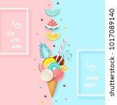 ice cream  fruit  3d  pastel.... | Shutterstock .eps vector #1017089140
