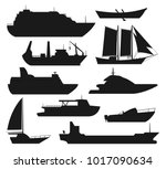 sea ship silhouettes. boats... | Shutterstock .eps vector #1017090634