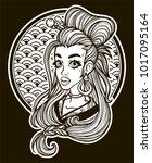 portrait of a girl in asian... | Shutterstock .eps vector #1017095164