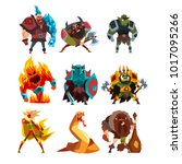 fantasy creatures and humans.... | Shutterstock .eps vector #1017095266