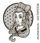 portrait of a girl in asian... | Shutterstock .eps vector #1017095536