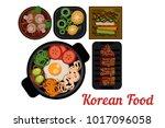 national korean cuisine. plates ... | Shutterstock .eps vector #1017096058