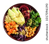 healthy lunch bowl with quinoa  ...   Shutterstock . vector #1017096190