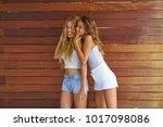 best friends teen girls happy... | Shutterstock . vector #1017098086