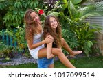 best friends teen girls... | Shutterstock . vector #1017099514