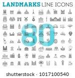 80 flat line design style... | Shutterstock .eps vector #1017100540