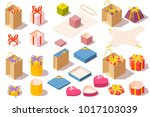 set of gift boxes. opened and... | Shutterstock .eps vector #1017103039