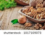Walnuts In Wooden Bowl. Whole...