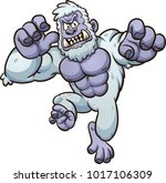angry yeti monster jumping at... | Shutterstock .eps vector #1017106309