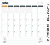 calendar planner for june 2018. ...   Shutterstock .eps vector #1017106948