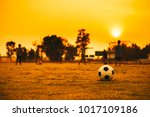 a ball on the green grass field ... | Shutterstock . vector #1017109186