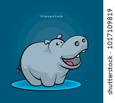 little hippopotamus fun dancing ... | Shutterstock .eps vector #1017109819