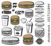 vintage burger elements set... | Shutterstock .eps vector #1017111844