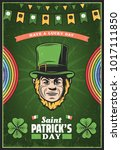 vintage colored st patricks day ... | Shutterstock .eps vector #1017111850