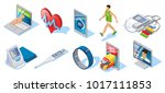 isometric digital medicine set... | Shutterstock .eps vector #1017111853