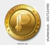 realistic 3d golden peercoin.... | Shutterstock .eps vector #1017121450