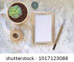 vintage mockup. succulent plant ... | Shutterstock . vector #1017123088