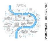vector illustrated map of bern  ... | Shutterstock .eps vector #1017123700