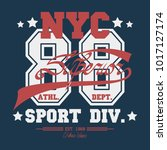 new york  sport wear typography ... | Shutterstock .eps vector #1017127174