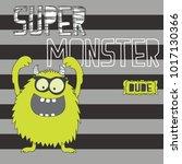cute monster on striped... | Shutterstock .eps vector #1017130366