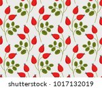 seamless pattern with rose hip... | Shutterstock .eps vector #1017132019