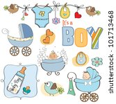 Baby Boy Shower Elements Set...