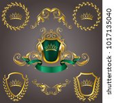 set of golden royal shields... | Shutterstock .eps vector #1017135040