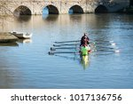 boat team rowing in front of... | Shutterstock . vector #1017136756