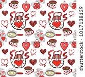 seamless pattern with valentine'... | Shutterstock . vector #1017138139