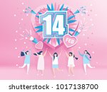 lovely joyful women. valentine... | Shutterstock .eps vector #1017138700