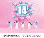 lovely joyful women. valentine... | Shutterstock .eps vector #1017138700