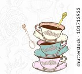tea cup background with spoon... | Shutterstock .eps vector #101713933
