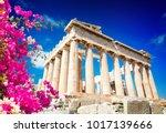 Parthenon Temple Over Bright...