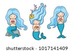 collection of cute little... | Shutterstock .eps vector #1017141409