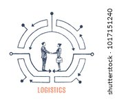 logistics. man and woman shake... | Shutterstock .eps vector #1017151240