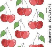 vector hand drawn seamless... | Shutterstock .eps vector #1017156076