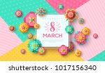 women's day greeting card with... | Shutterstock .eps vector #1017156340